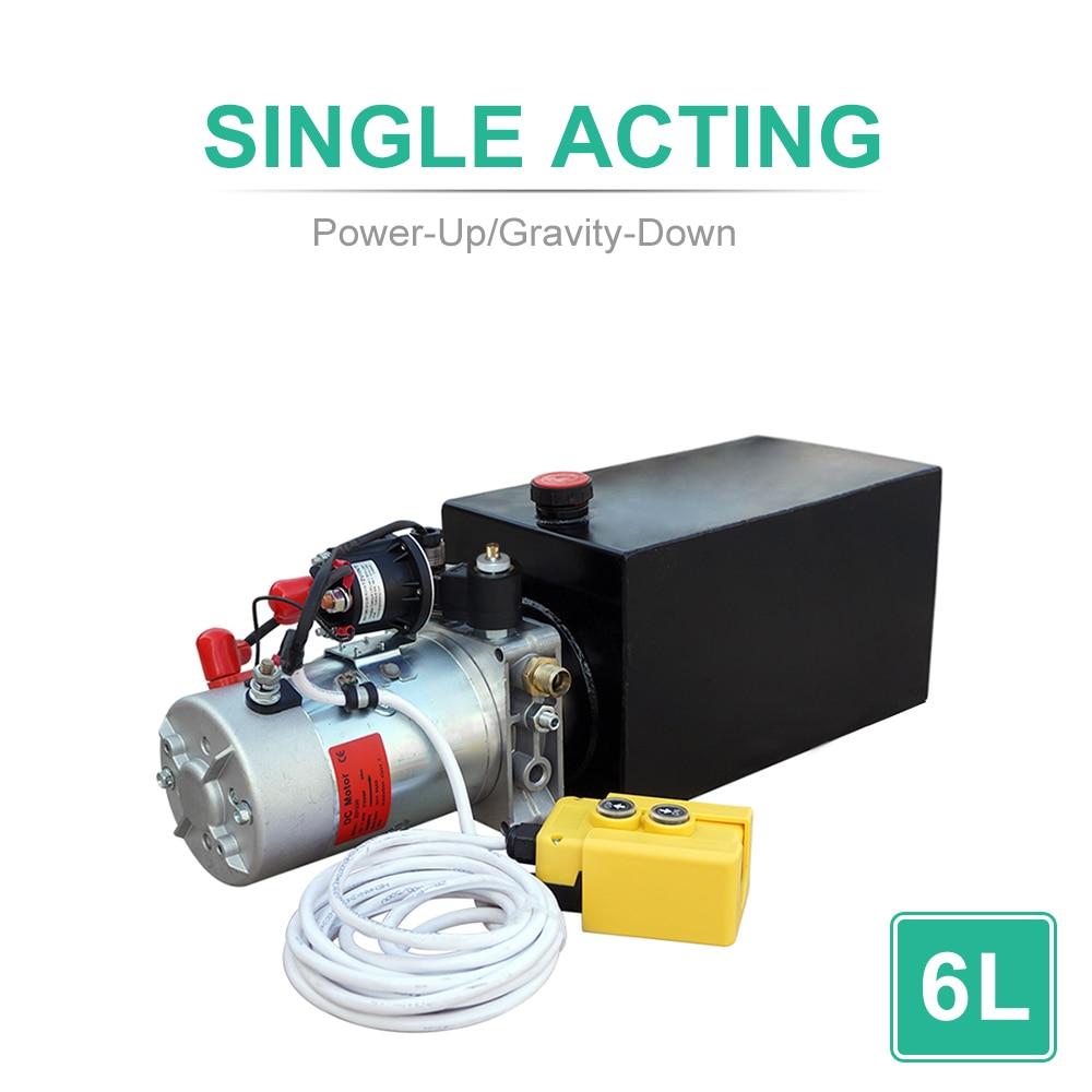 DC HOUSE High Quality 6L Single Acting Hydraulic Pump 12V Dump Trailer 6 Quart 3200 PSI Max Metal Reservoir