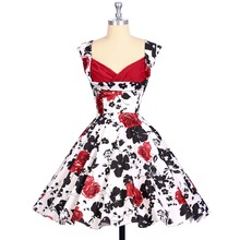 Women Summer Dress 2017 vestidos 50s Style Flower Pattern Floral Print Vintage Plus Size woman robe sexy Casual Party dresses