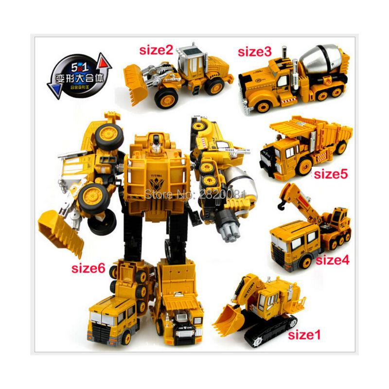 5-in-1 transformation cartoon robot car toys,Engineering vehicle Devastator metal models for boy best gift 5 styles combination ...