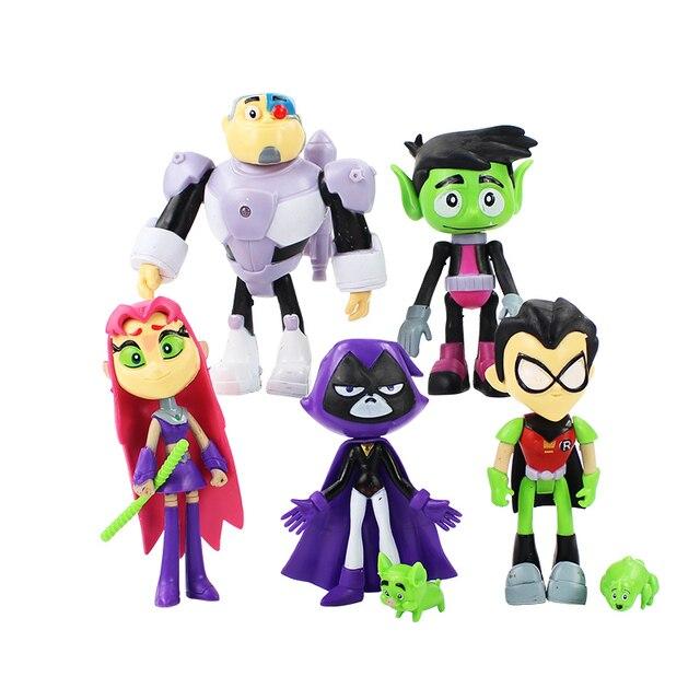 7 unids/lote Teen titanes Robin Cyber Beast Boy Starfire Cuervo Silkie PVC figura de acción juguetes regalos para niños