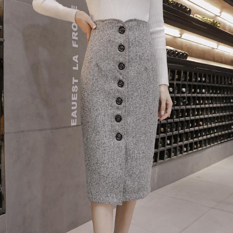 Vintage Winter Tweed Skirts Women Button Long Midi Pencil Skirt Slim Korean High Waist Elegant Office Sexy Warp Skirts Luxury