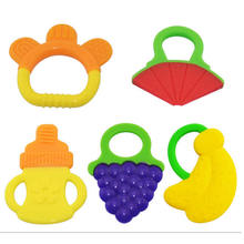 1pcs High-quality Fruits silicone Baby Teether training Teether Toys Kids Teething Silicon Baby Teethers Children Care