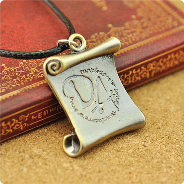 Women Helpful New Arrival Movie Harri Potter Da Reel Flag Pendant Rope Necklace Figure Toy High Quality Vintage Bronze Pendant Jewelry Gift Suitable For Men And Children