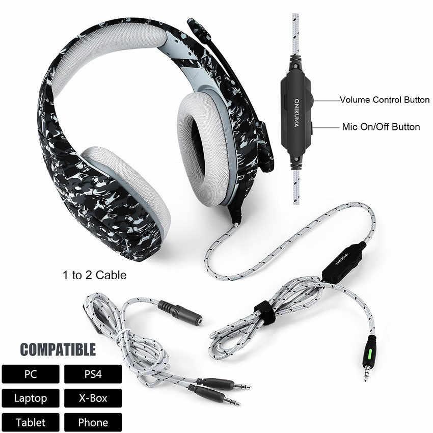 ONIKUMA سماعة الألعاب كاسك ألعاب الكمبيوتر ستيريو باس سماعة رأس بمايكروفون ل PS4/Xbox One غمبد + فأرة الألعاب السلكية