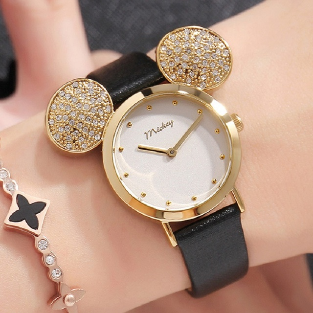 2018 New Disney Watch Women Mickey Mouse Gold Women Watches Fashion Casual Rhine