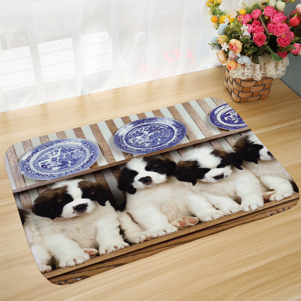 Cute Dog St. Bernard Dog Foot Pad  Floor Mat Doormat Tatami Anti-Slip Bathroom Rugs Alfombra Cocina 40x60cm