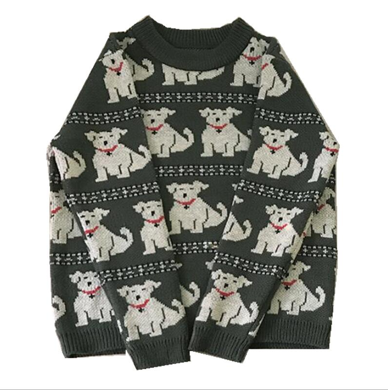 Cute Dog Round Neck Knit Sweater ...
