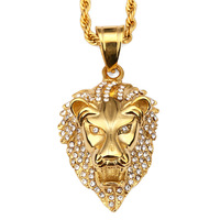 Hip Hop Full Drill Lion Head Pendant Necklace Gold Tone Steel Luxury Unique Exquisite Big Brand