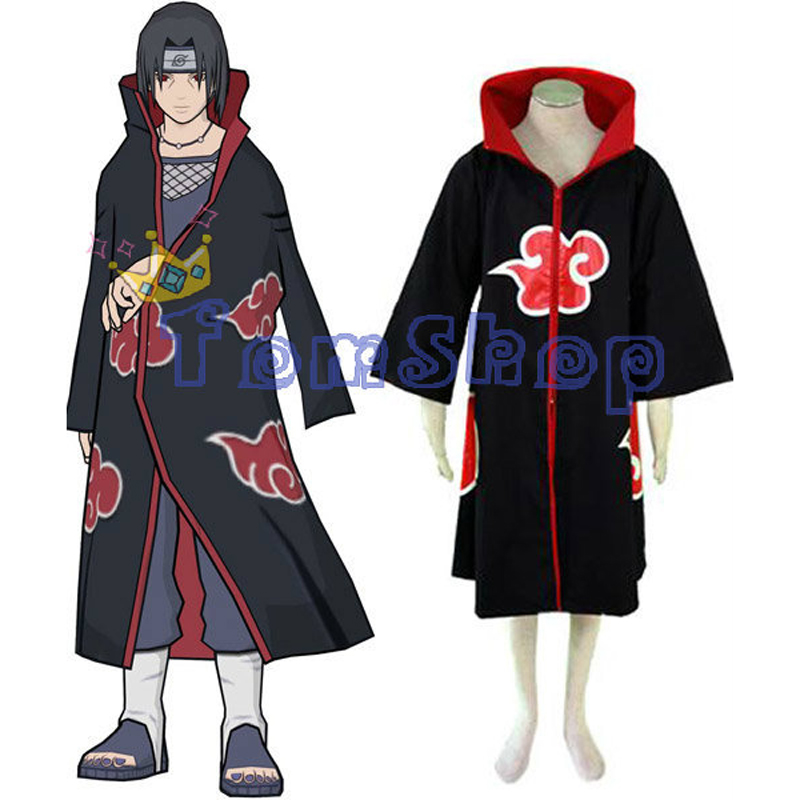 Naruto Akatsuki Cosplay Cape Dust Cloak Orochimaru Itachi Uchiha Madara Sasuke Pein Costumes Trench Coat XS-XXL Free shipping