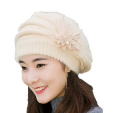 ALLKPOPER Warm Winter Hats For Women Beanie Female Hat & Cap Knitted Rabbit Floral Gorros Caps Skullies Bonnet Bone Gorro