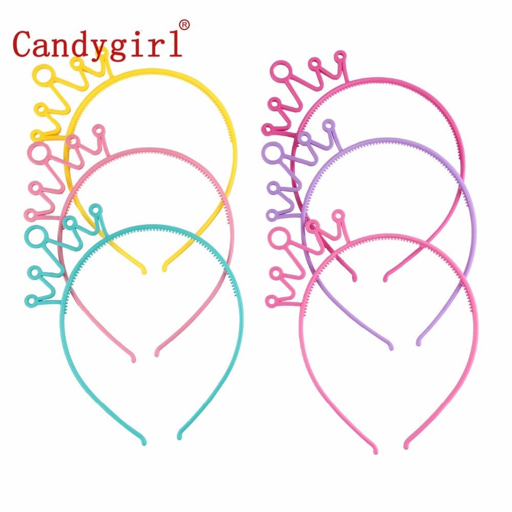 6pcs Candygirl Plastic Headbands Head Crown Baby Girl Kids Women Hairbands Hoop Accessories Hair Band Boho Elastic   Headwear