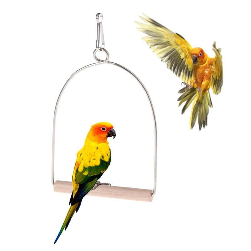 Natural Wooden Birds Perch Parrots Hanging Swing Cage Toys Stand Holder Pendant