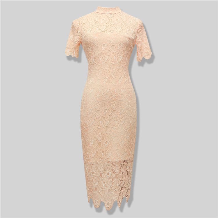 Sexy Lace Knee Length Dress Girl's HL Bandage Dress Turtleneck Short Sleeve Evening Party Dress