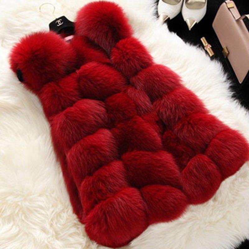 Brieuces manteau arrivée hiver chaud mode femmes importation manteau fourrure gilets haute qualité fausse fourrure manteau fourrure de renard Long gilet veste femme