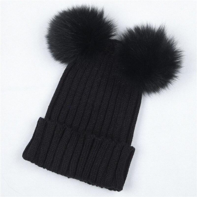 c38a64e6200 Women s Winter Hat Chunky Knit Double Pom Pom Beanies Cap Faux Fur Pompom  Hats Women Headgear Ear Warmer Bobble Bonnet Gorros