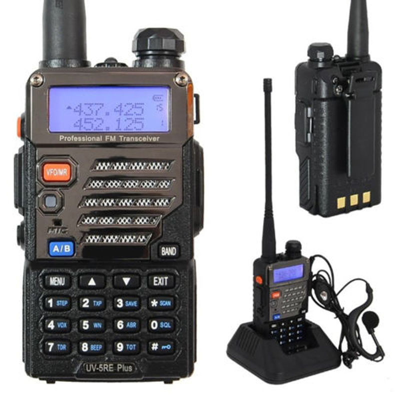 Baofeng BF-UV-5RE Plus Walkie Talkie Dual-Dand VHF/UHF CTCSS&CDCSS Two-way Radio Walkie Talkie 136-174MHZ/400-520HZ LCD Display