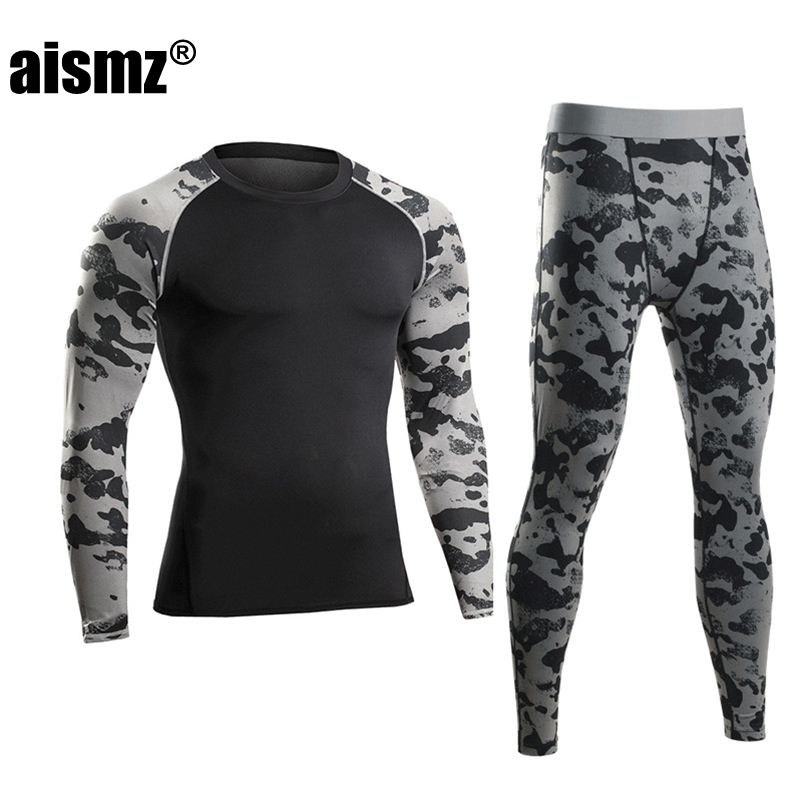 Aismz Men Pro Compression Long Johns Fitness Winter Quick Dry Gymming Male Autumn Sporting Sets Runs Workout Thermal Underwear