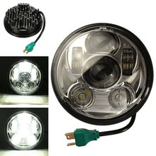 12V 24V 5.75 Inch Headlight IP68 4000LM Motorcycle 5 3/4 inch LED Headlight for Harley Motorcycle Black Silver