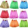Halloween party clothes Elastic waistline Hawaiian hula dancing grass skirt children garment suit 30cm Hawaii Dance Skirt K0726#