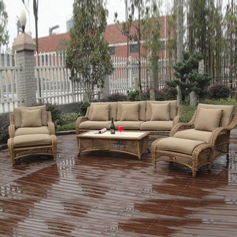 6-pcs Half Round Rattan Sofa Set Pastoralism Home Indoor / Outdoor Rattan Sofa For Living Room