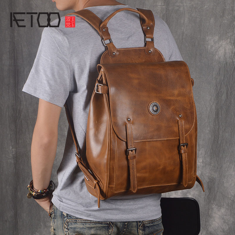 AETOO Retro backpack men leather backpack handmade leather 15 computer bag travel bag large capacity new products aetoo retro backpack men and women leather backpack leisure bag bags travel computer bags