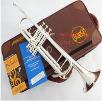 New High quality TR 190GS Silver plated Bb Trumpet B Flat Professional Musical Instruments Brass Bugle Trompete Free Shipping