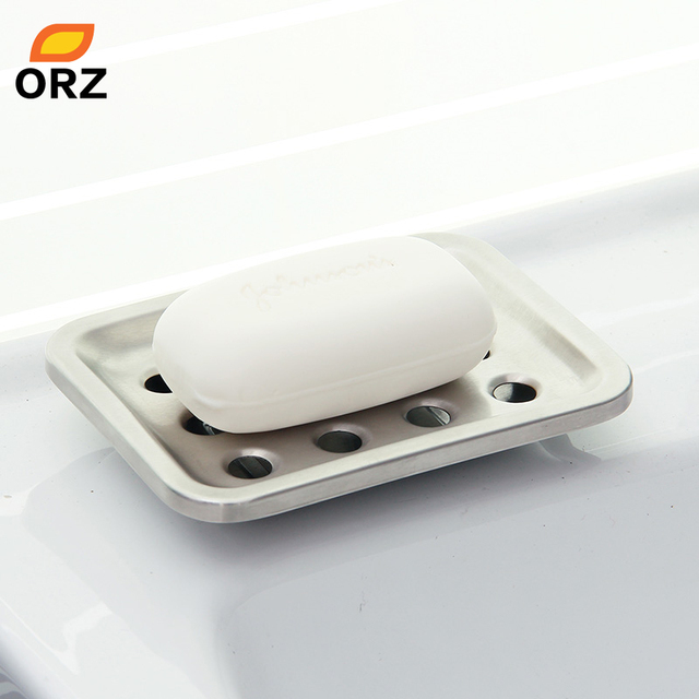 ORZ Stainless Steel Soap Holder Chrome Dish Plate Base Storage Box Shower Tray Bathroom Accessories