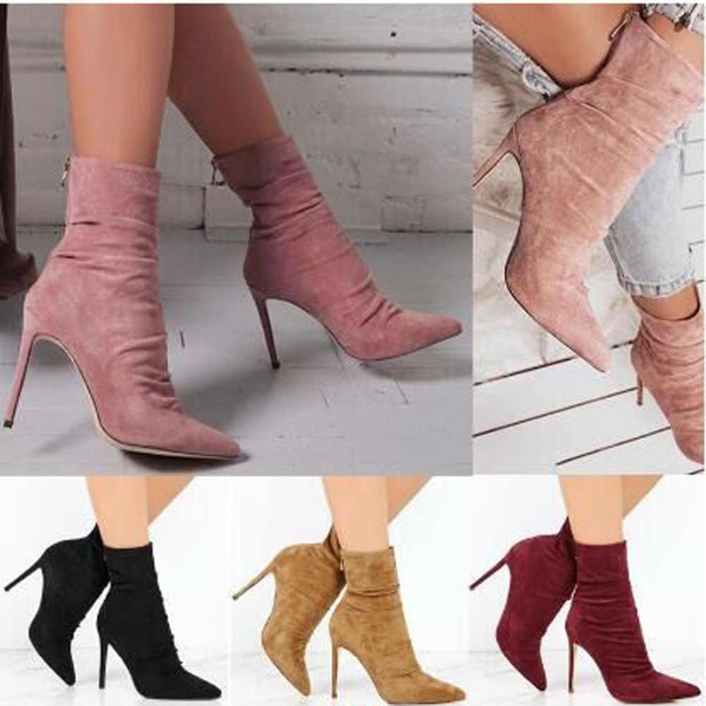 ac82789d698 ... New Women Ankle Boots Solid Color Pointed Toe High Heels Boots Fashion  Ladies Sexy Stiletto Pumps