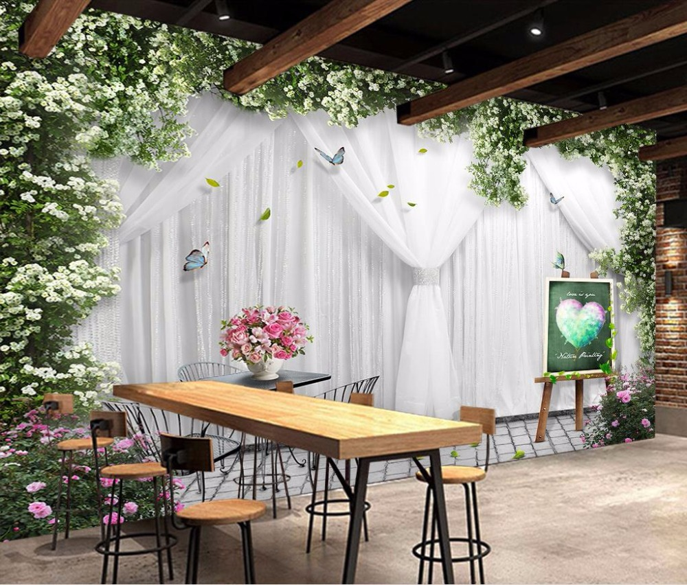 Custom Romantic Photo Wall Mural lifelike window non-woven Vinyl Wallpaper 3D green vine rose Wallpaper For Walls Wedding room beibehang papel mural arrival romantic warm dandelion wedding decor 3d wallpaper non woven wallpapers mural floral wall pape