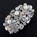 B009 Exaggerate Shining Crystal Imitation Pearl Bracelet Silver Plated Wide Elastic Bangles For Women Fashion Jewelry