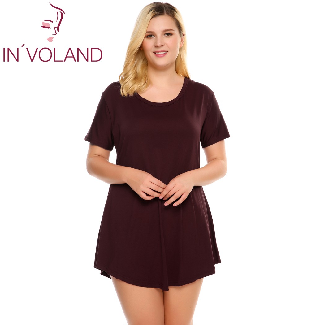 IN'VOLAND Women T-Shirt Tops Plus Size Summer Short Sleeve Solid Casual Loose Fit Tunic Hollow Out Ladies Tshirt Oversized 5XL