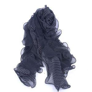 Image 5 - Promotion Sale! Summer Fungus Edges Scarves Fashion Dot Print Ruffle Shawl Women Elastic Band Head Scarf Muslim Chiffon Hijab