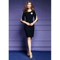 Zmvkgsoa Plus Size 4xl New Women Elegant Pencil Dresses Pearl Hollow 3/4 Sleeve Bodycon Female Office Dress Vestidos Mujer Y1667