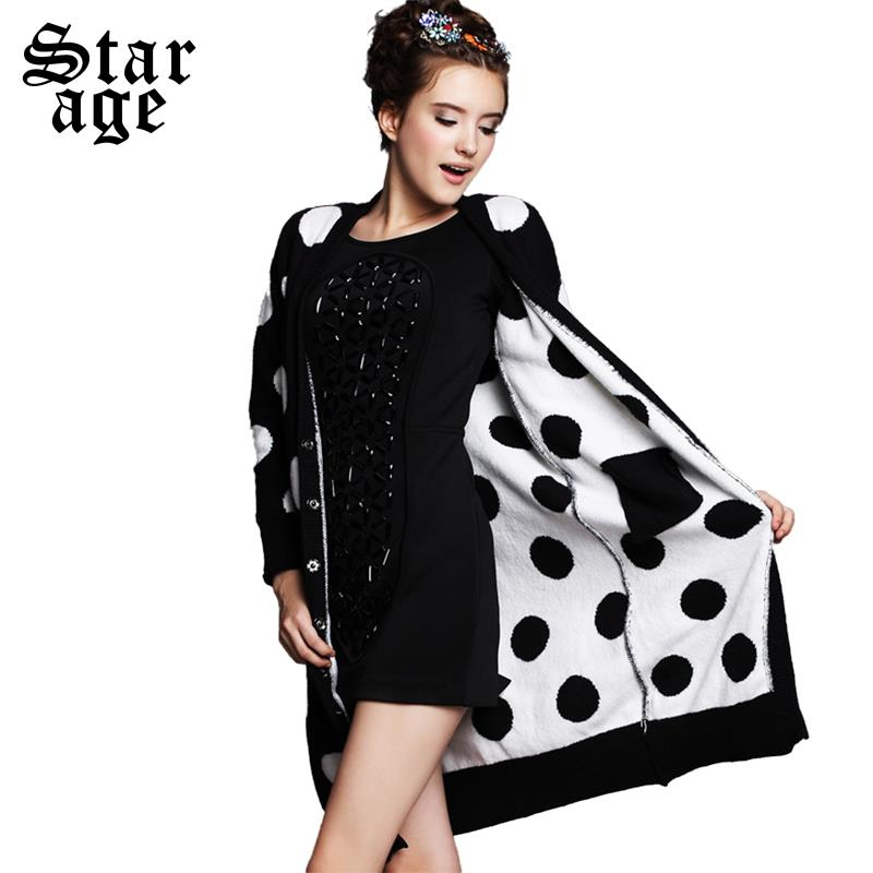 S 5XL Brand Ladies Black White Polka Dot Knitted Long Sweater Ladies Woolen  Cardigan 2015 Plus Size Women Clothing G200 on Aliexpress.com  02f7ff436