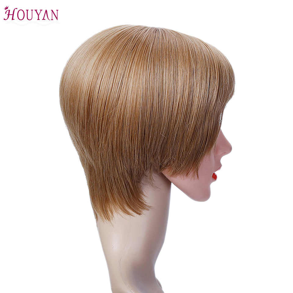 HOUYAN человеческих волос парики Короткие человеческих волос Парики Короткий парик для черный Для женщин Dorisy не Реми бразильский короткий парик-Боб