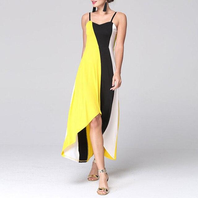 AIEnny Summer Boho Maxi Long Elegant Women Sexy V-Neck Straps Asymmetric Loose Dress