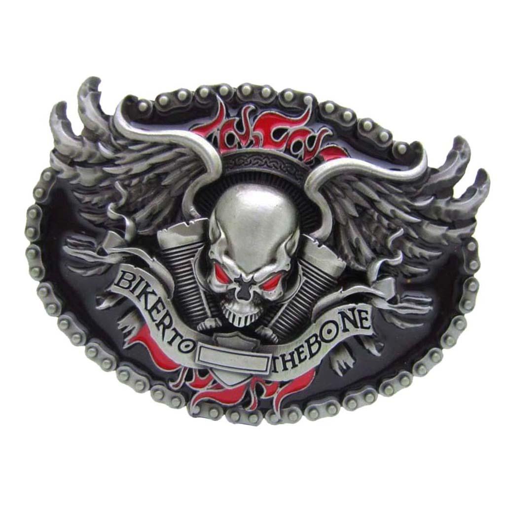 Men's Vintage Hip Hop Western Cowboy Skeleton Head Winged BIKER TO THE BONE Pattern Fashion Zinc Alloy   Belt   Buckle Gifts