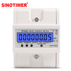 Din Rail 3 Phase 4 Wire Electronic Watt Power Consumption Energy Meter Wattmeter kWh 5-80A 380V AC 50Hz LCD Backlight Display