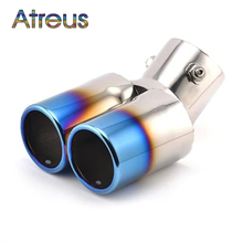 For Chevrolet Cruze Aveo Ford Focus 2 Kia Rio K2 Mazda 6 5 Peugeot 207 307 Twin Curved Tailpipe Car Exhaust Tail Pipe Muffler