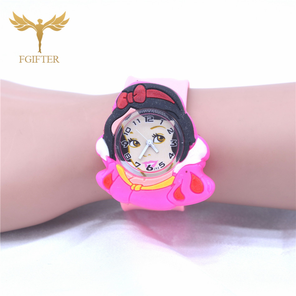 Pink Silicone Watches For Kids Girls 3d Cartoon Bow Princess Style 3-7 Old Children's Gift Strap Belt Quartz Watch