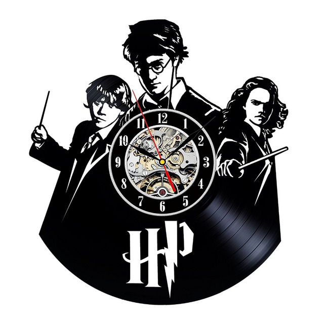 2017 Hot Vinyl Record Wall Clock Harry Potter Hermione Theme Art Watch Clock  Black Duvar Saati Home Decorative