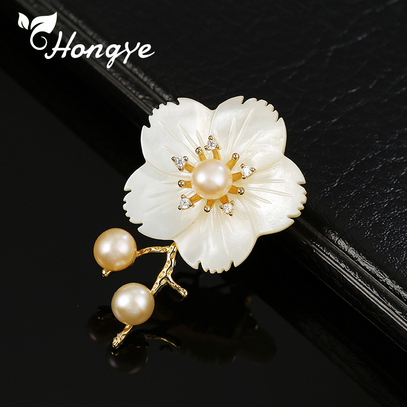 Hongye 18k Gold Fine Brooches Woman Scarf Pins Brooch Pin for Girls Eco Friendly Copper Beautiful Brooches Fashion Jewelry Gift