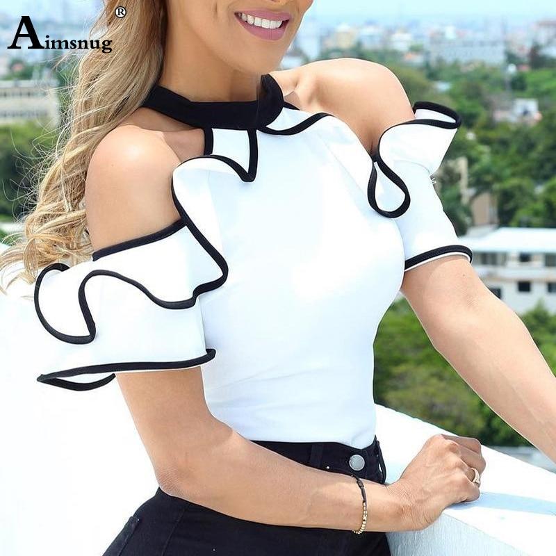 2019 lato kobiety elegancki wypoczynek Top na co dzień panie bez rękawów stanąć kołnierz koszula kontrast wiążące Ruffles wykończenia biała bluzka