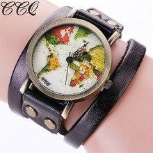Ccq marca moda mujer estilo vintage reloj de pulsera de cuero genuino colorido mapa del mundo de relojes casuales las mujeres pulsera quartzwatch c90