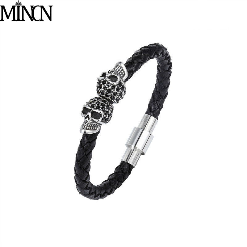 MINCN stainless steel threaded leather bracelet skull head with drill bracelets  jewelry gifts for men