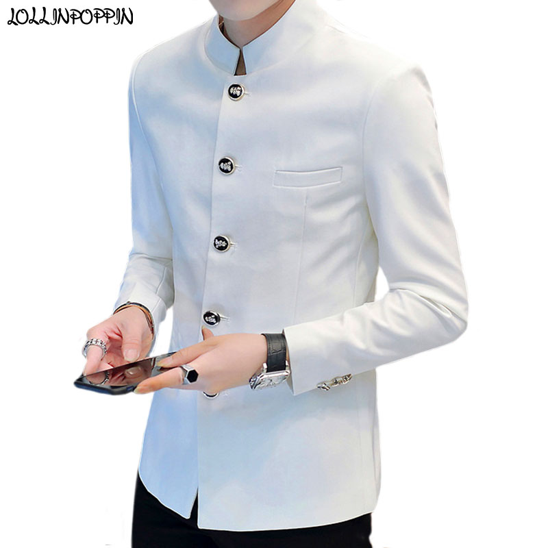 Stand Collar Men Casual Blazer Chinese Style Slim Fit Mens Suit Jacket 2019 Autumn Spring Tunic Jacket White / Black