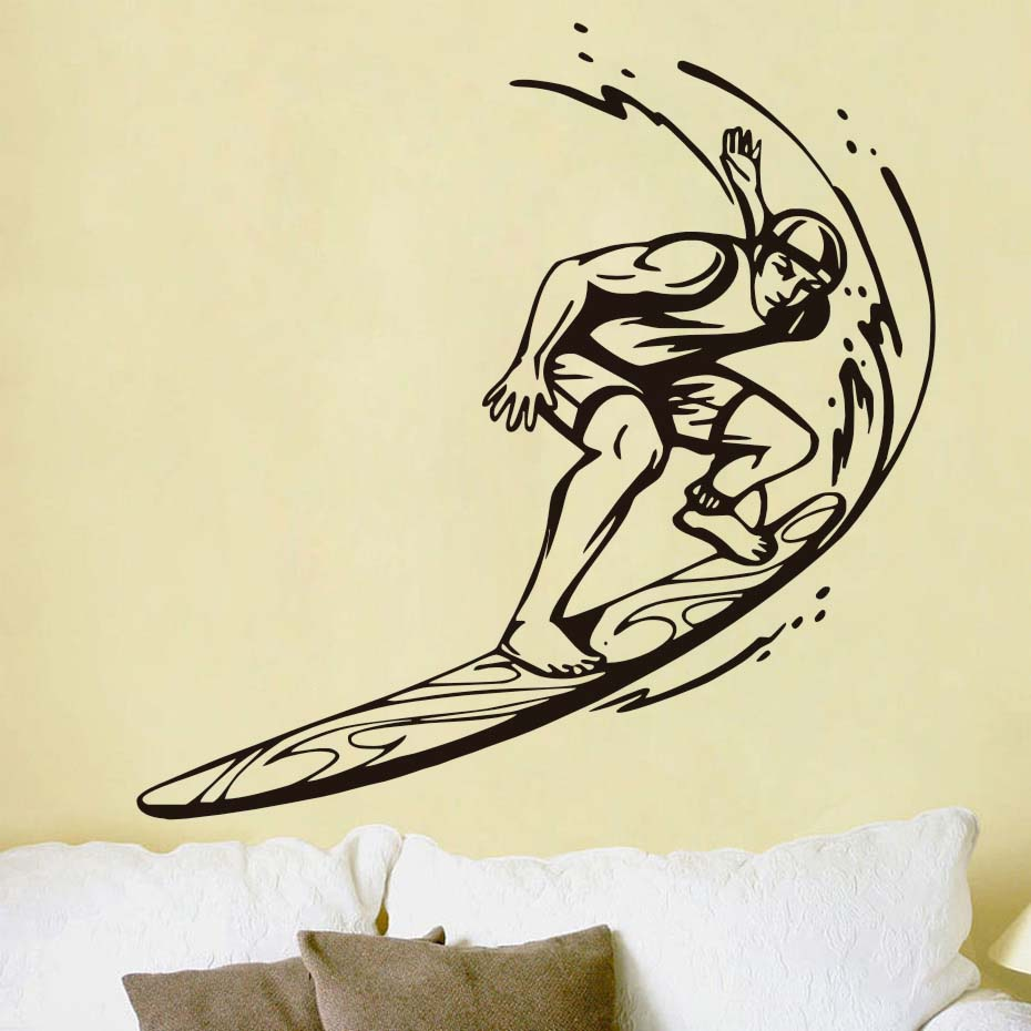 Surfer Riding Wave Sport Wall Mural Living Room Art Vinyl Wall Decal ...