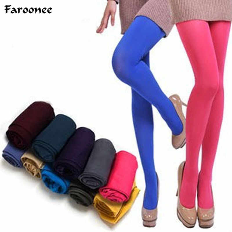 Hot Classic Sexy Women 120D Opaque Footed Tights Pantyhose Candy Color Thick Tights Stockings Women Fashion Autumn Tights