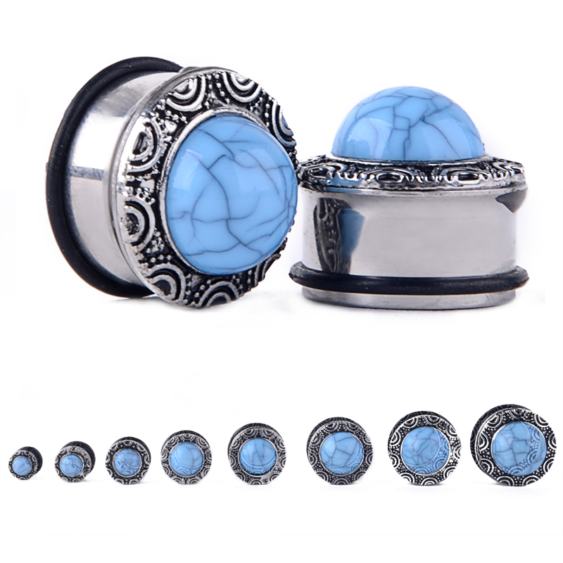 PAIR Blue Druzy Stone Sono Wood Plugs Tunnels Guages Gauges Body Jewelry