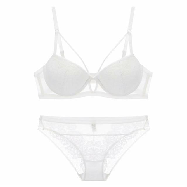 YSANSCA Fashion sexy bra set underwear intimates embroidery lace lingerie  temptation black white bride small bra 7bdb79205